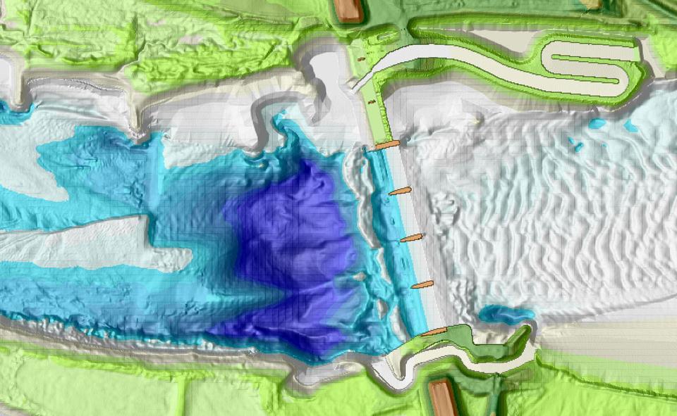 """Gewässerstruktur am Elbwehr Geesthacht. Deutlich erkennbar sind die Fischaufstiegsanlagen am Nord- und Südufer. Außerdem erkennbar ist die erhebliche Kolkbildung im Unterstrombereich des Elbwehres. Wie ist es zu dieser Eintiefung gekommen? Dass hieran die (vergleichsweise) geringen Strömungsverhältnisse in den Fischpassen schuld sein sollen, erscheint fragwürdig. (Topographie-Rohdaten WSA Lauenburg; Numerische Modellierung """"Rettet die Elbe e.V."""""""